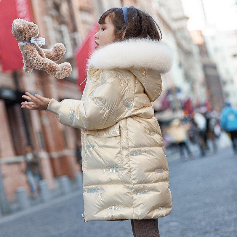 -20 درجة الأوروبية 2021 الشتاء الأطفال أسفل سترة الفتيات الوردي الدافئة أسفل معطف طويل الفتيات بلون الشتاء معطف سميك مقنعين