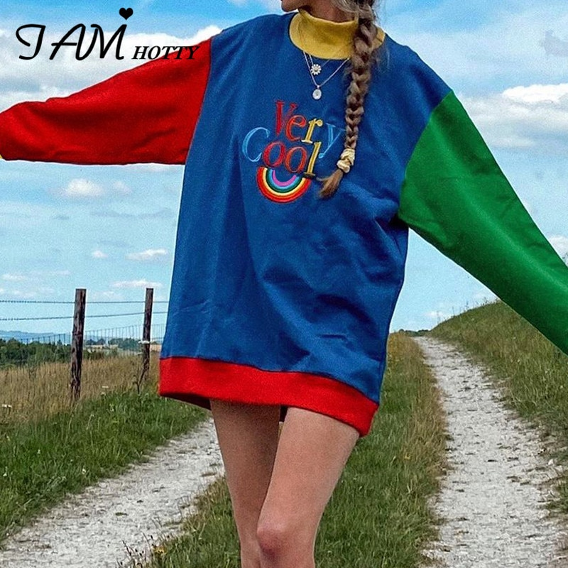 IAMHOTTY  Rainbow Letter Print Oversize Hoodies Women Color Patchwork Long Sleeve Pullove Streetwear Autumn Aesthetic Sweatshirt girls rainbow print sweatshirt