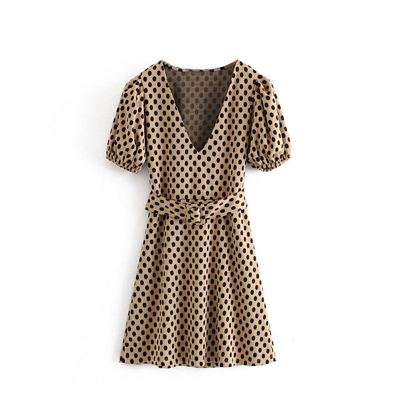 Vintage Chic Polka Dot Plaid Belt Knitted Dress Za Fashion Elegant Ladies V-Neck Dress Casual Vestidos Mujer