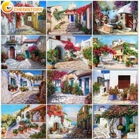 chenistory santorini painting by numbers landscape on canvas with frame pictures by numbers home decoration diy minimalism style