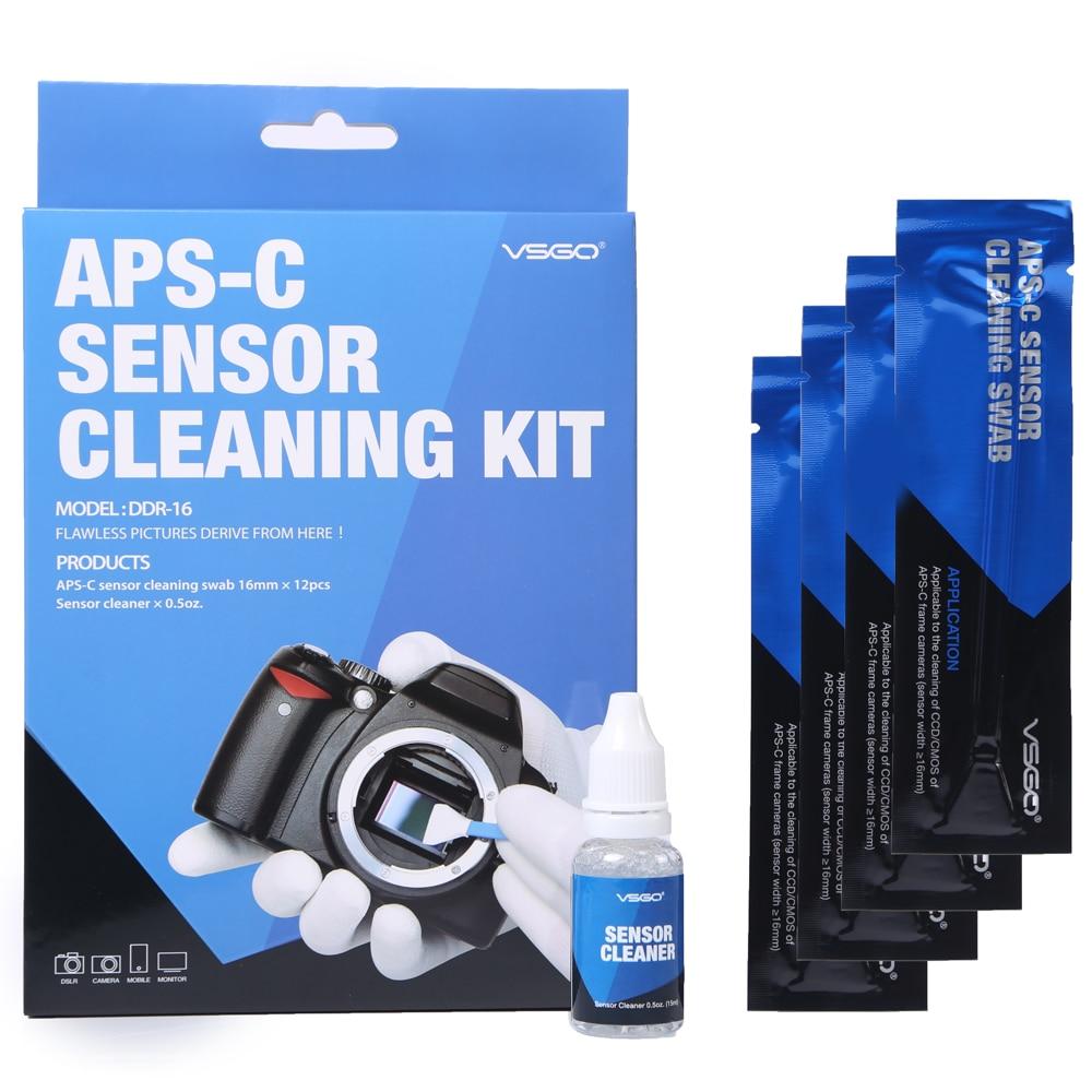 Vsgo APS-C kit de limpeza do sensor DDR-16 profissional ccd cleaner sensor cotonete kit limpeza cmos para digital dslr câmera