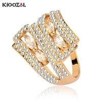 kioozol luxury sparkling solid crystal gem ring double layer sandwich hollow ring micro inlay cz fashion jewelry 062 ko5