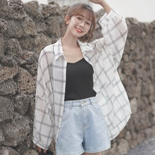 Chiffon Plaid Sunscreen Shirt Women's Thin 2020 Early Autumn New Design Sense Niche Shirt Puff Sleev