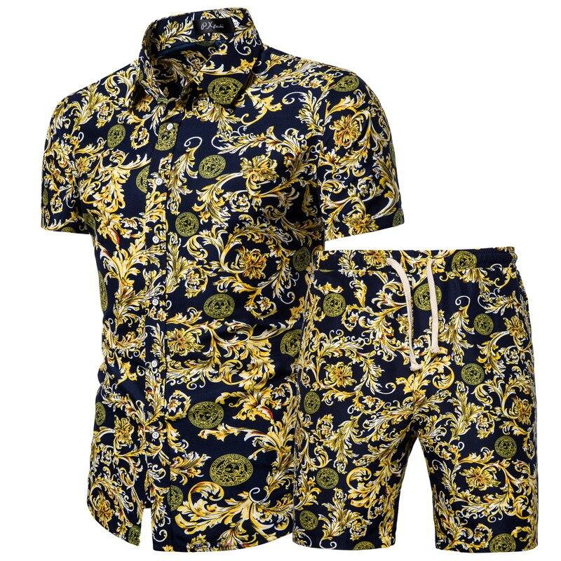 Лучшая распродажа размера плюс 5XL Летний Пляжный цветочный принт Мужская Рубашка Короткий Комплект Модный комплект из двух предметов