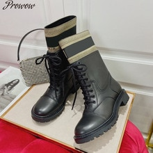 Prowow automne hiver mi-mollet bottes marque Design femmes chaussures 2020 mode bout rond bottes sur le genou bottes Zappatos Mujer