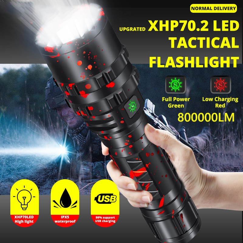 Super Bright XHP70.2 LED Flashlight Xlamp 8000LM Powerful XHP50.2 Lanterna For Hunting Waterproof Torch Light Use 18650 26650