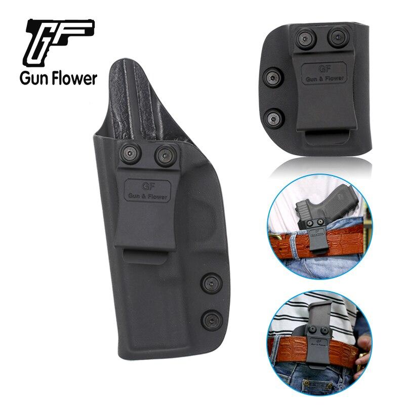 Gun&Flower Quick Draw Left Hand IWB Glock 19 Kydex Holster with Single Magazine Holder Carrier