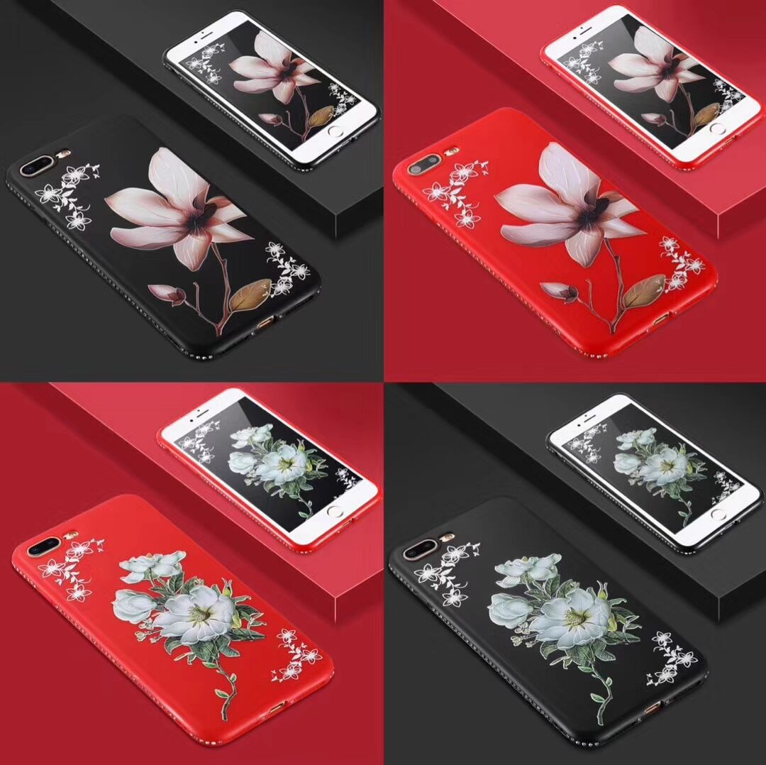 Jasmin Lilie Matte Floral Jeweled Weichen TPU Telefon Fall Für iPhone 11 Pro Max XS X XR 5 6 6S 7 8 Plus Blume 3D Abdeckung
