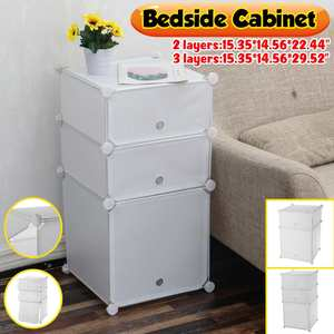 Nightstand Beside Table Plastic Organizer Storage Cabinet with Doors DIY Simple Assembly Night Stand Table for Bedroom Office