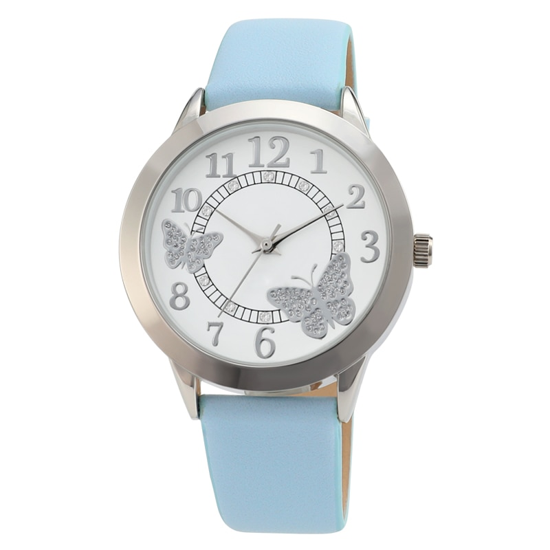 new authentic watch Women Special Butterflies and flowers Pattern comfortable leather strap fashionable and simple Watches enlarge