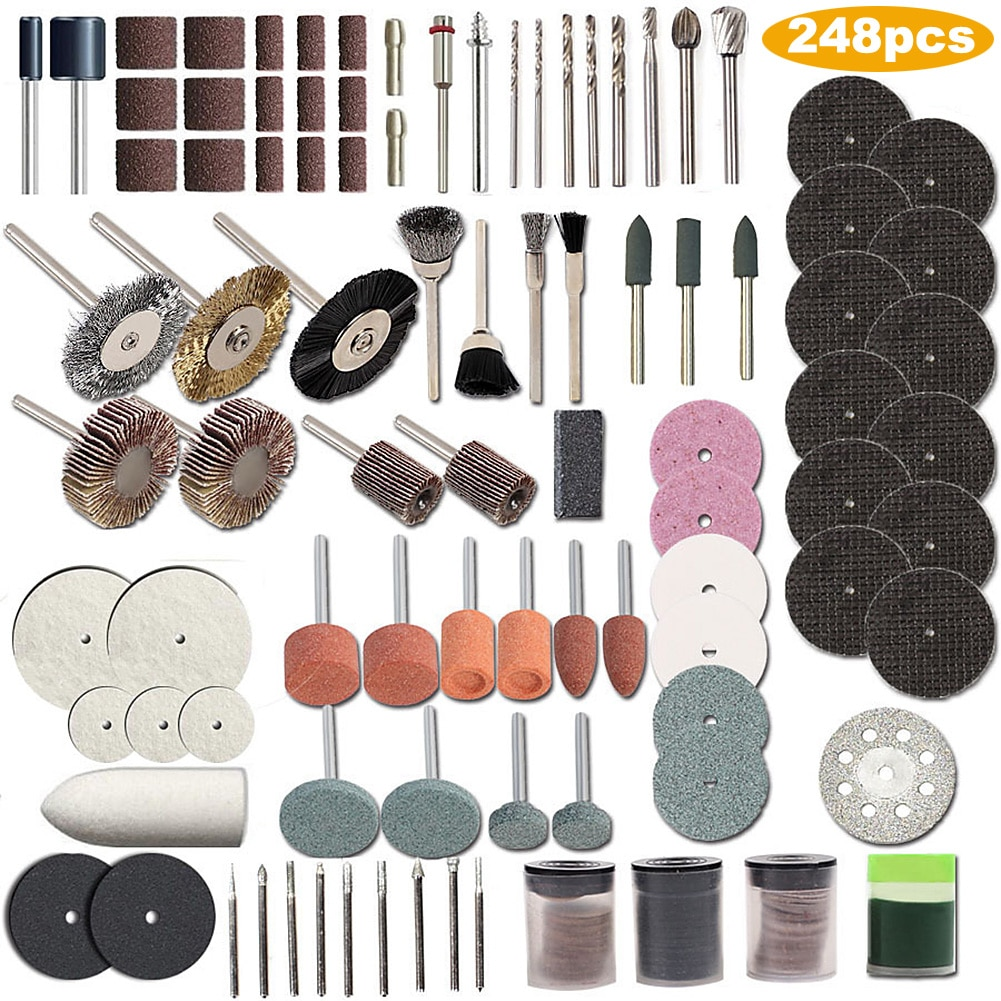 248Pcs Rotary Accessories Set Rotary Tool Kit for Craft Projects DIY Creations Cutting Engraving brock craft arduino projects for dummies