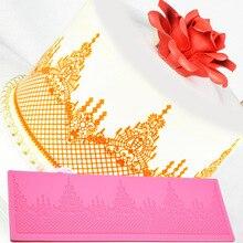 Nieuwe Collectie Crown Kant Cakevorm, Siliconen Mal Kerst Cake Decorating Gereedschap, Keuken Accessoires E927