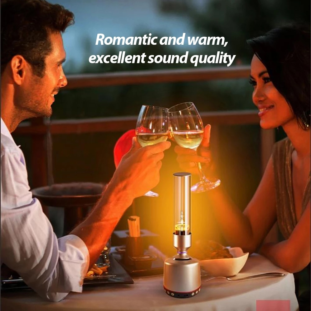 YAJADO 360° High Quality Sound Indoor Wireless Portable Compatible-Bluetooth Speaker with Romantic Analog Candle Light / AUX IN enlarge