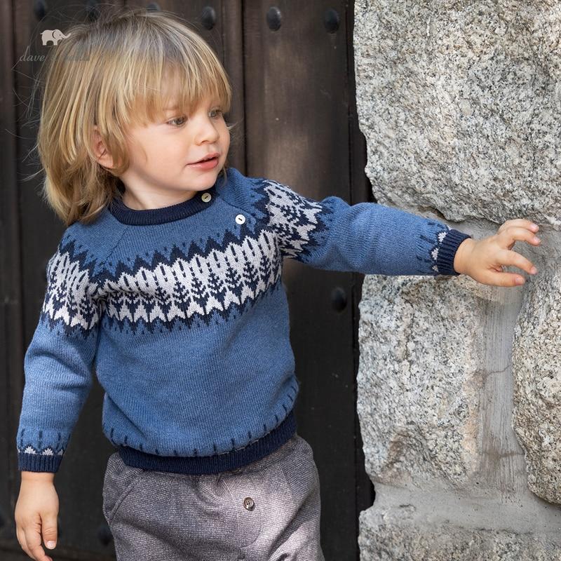 DB18580 ديف بيلا الشتاء عادية طفل بنين عيد الميلاد طباعة محبوك سترة الاطفال الصبي موضة طفل بوتيك القمم