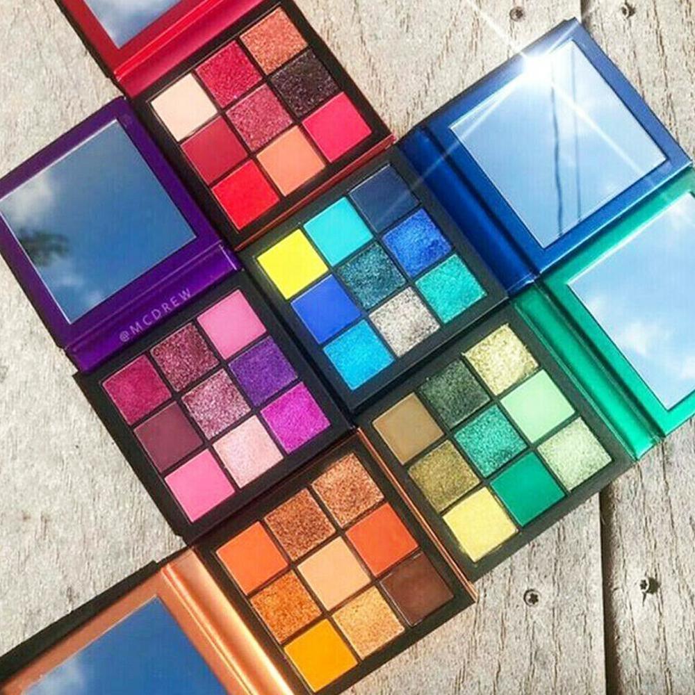 Cmaadu 9 colores sombra de ojos pigmentos brillo metálico belleza sombra de ojos paleta de maquillaje en polvo Palete de maquillaje Natural