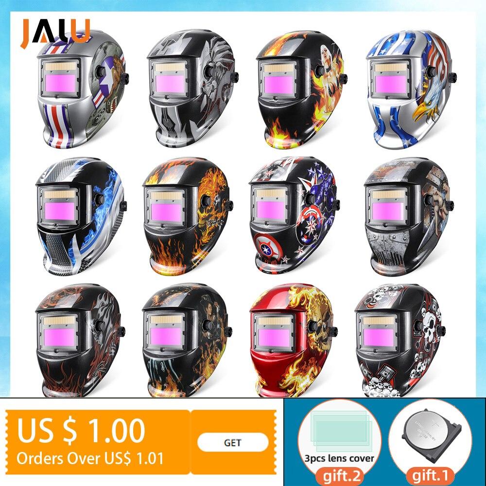 JALU Solar Auto Darkening Welding Mask for welding working Li battery welding helmet/cap/lens for TIG MAG MIG