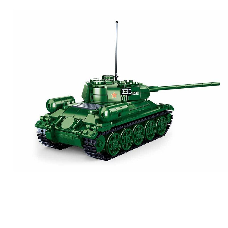 Bloques de construcción de tanque medio de la Segunda Guerra Mundial, juguete de piezas de bloque de tanque medio de la Segunda Guerra Mundial, T-34/85, soldado, SWAT