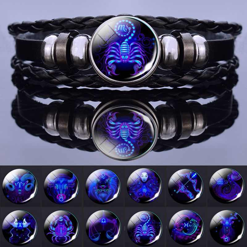 12 Zodiac Signs Constellation Charm Bracelet Men Women Fashion Multilayer Weave leather Bracelet & Bangle Birthday Gifts недорого