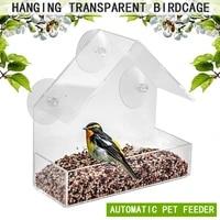 bird feeder acrylic transparent window viewing bird feeders tray birdhouse pet water feeder suction cup mount house type feeder