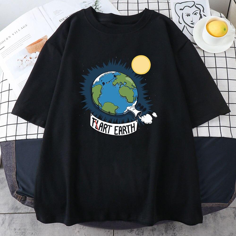 Оптовая продажа, женская футболка с забавным мультяшным принтом земли, летние дышащие топы, модные стильные мужские футболки