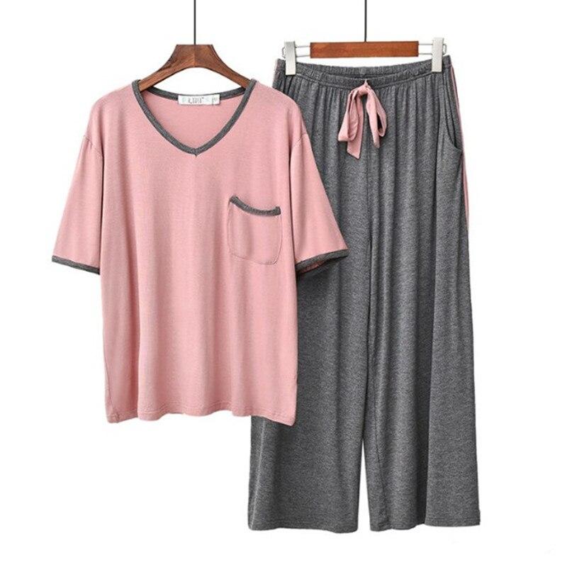 Летние пижамы, женские брюки с коротким рукавом, свободные пижамы, пижамный комплект, Модальные хлопковые пижамы, женские пижамы для отдыха,...
