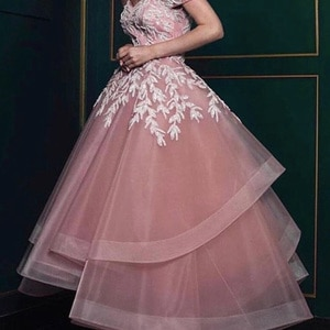 new arrival prom dresses pink lace appliques beading sequins tulle floor length long evening dresses gowns