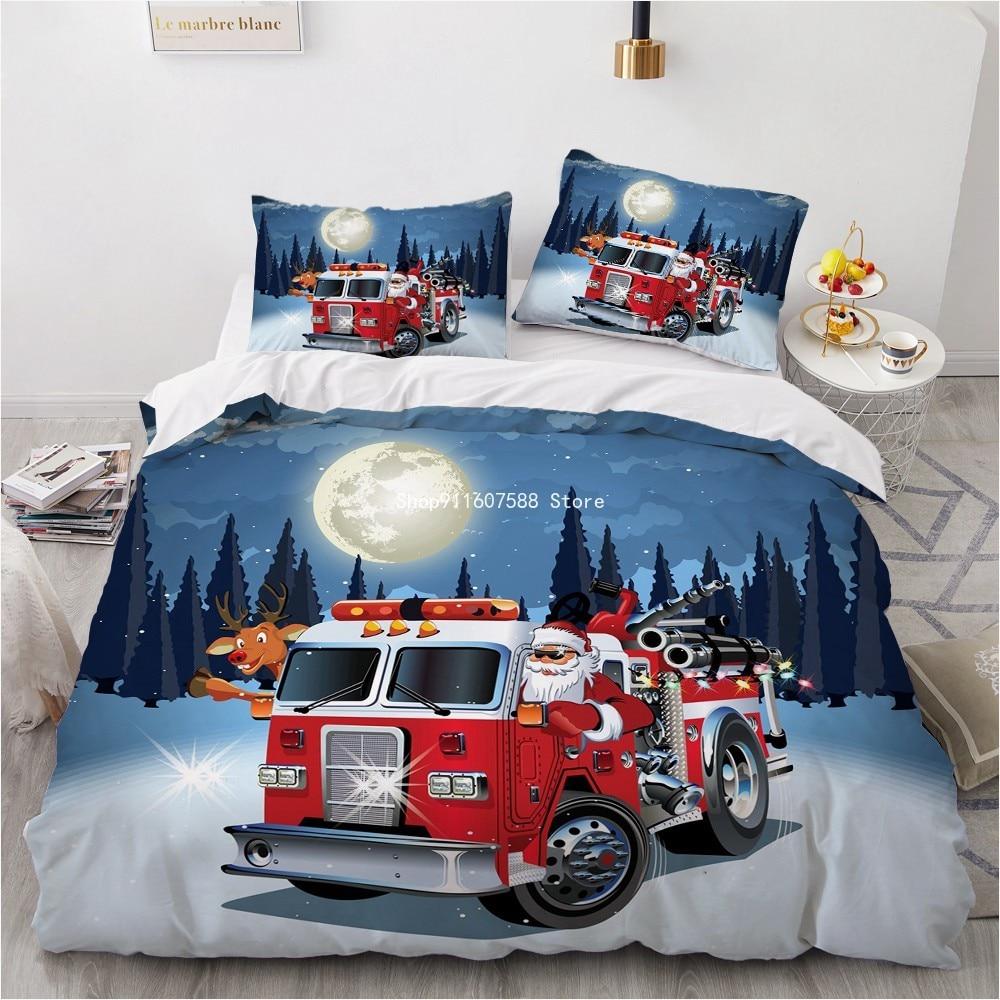 ثلاثية الأبعاد عيد الميلاد تصميم سيارة مطافئ المعزي شل حاف طقم سرير غطاء لحاف التوأم الملك الملكة مزدوجة حجم واحد المنسوجات المنزلية