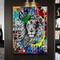 Toile avec graffitis de mode Lions et celebrites  affiches et imprimes danimaux dart de rue  images pour decor de salon de maison
