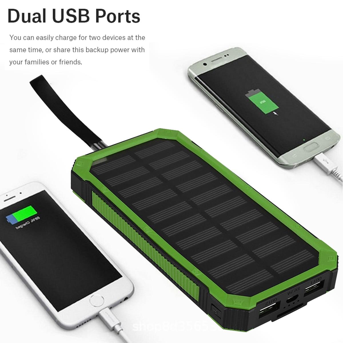 Novo curso portátil caso banco de energia solar kit diy 20000mah carregamento rápido duplo usb móvel power bank casos embutido painel solar