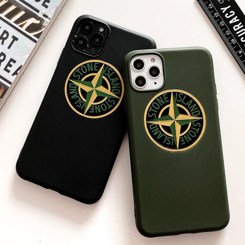 Funda de silicona con logotipo de medalla de piedra Popular minimalista a la moda para iphone 11 Pro Max X XR XS 6 7 8 Plus SE 2 funda de lujo para teléfono