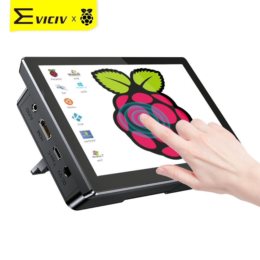 التوت بي شاشة منازل EVICIV 7-10 بوصة شاشة تعمل باللمس شاشة الكريستال السائل RPi المحمولة رصد Rasberry USB HDMI Rasbery Pi4 Pi3