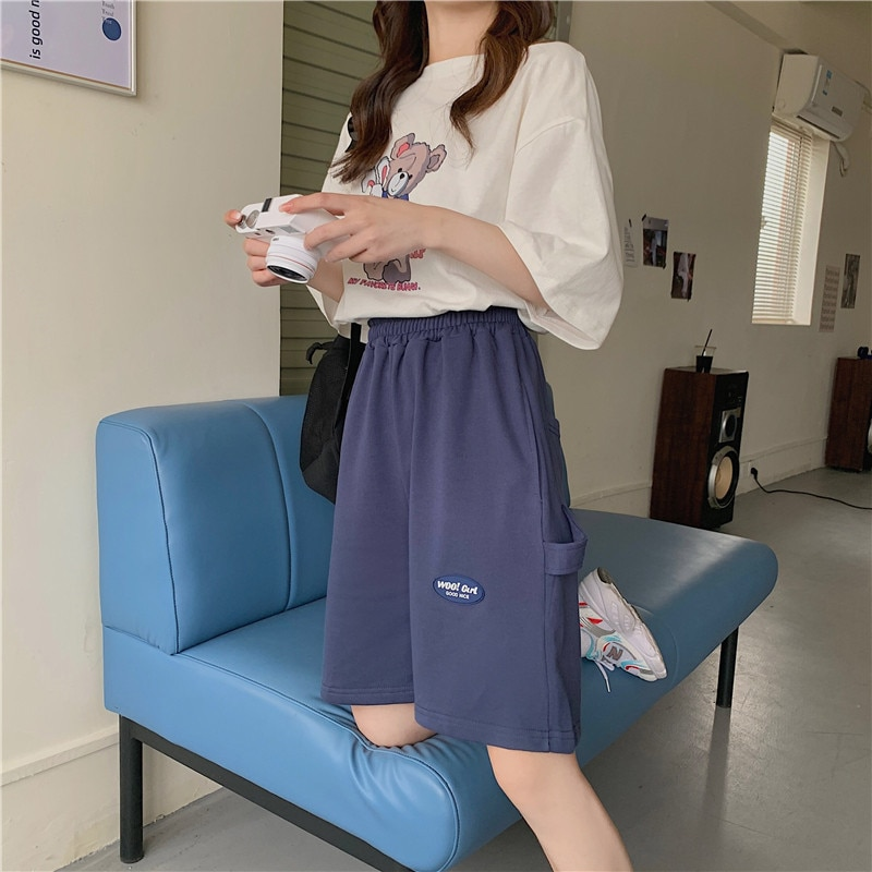 Sports Shorts Women's Summer New Fashion Ins Casual Loose Slimming Versatile High Waist Thin Outer W