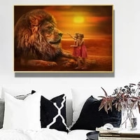 twins with lions african art canvas paintings on the wall art posters and prints african landscape art pictures home wall decor
