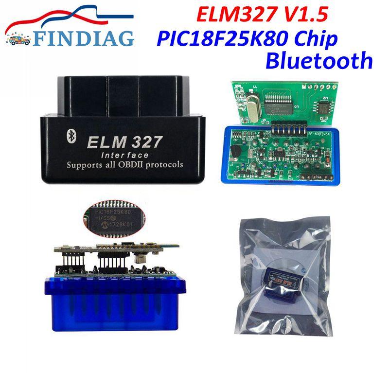 A+++ Quality 1pcs ELM327 V1,.5 Diagnostic Interface PIC18F25K80 2PCB Android / Symbian PCBluetooth All OBD2 Car Protocols