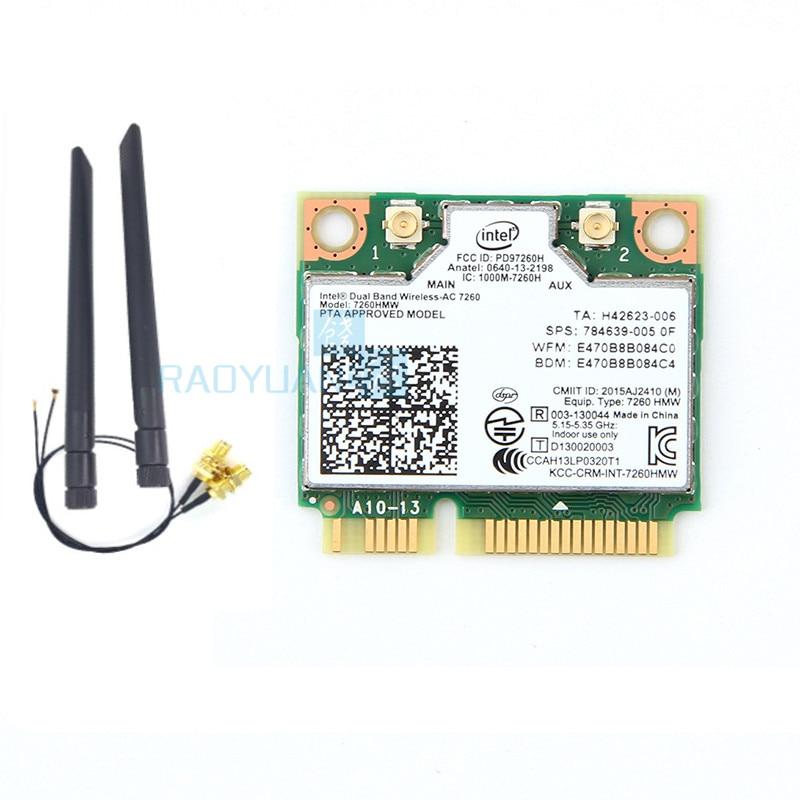 For intel Dual Band Wireless-AC7260 7260HMW 7260AC half Mini PCIe BT4.0 Wireless card SPS:710661-001 for HP EliteBook840
