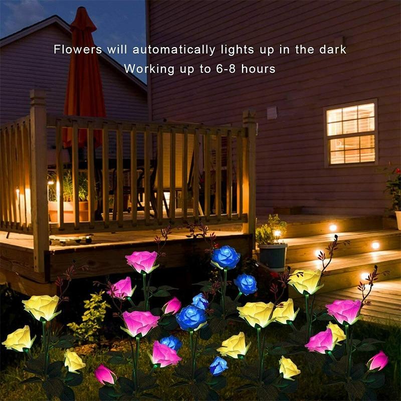 Solar Flower Light Rose Flower Lamp Led Solar Light For Garden Decoration Waterproof Outdoor Landscape Lawn Lamp For Patio Yard enlarge