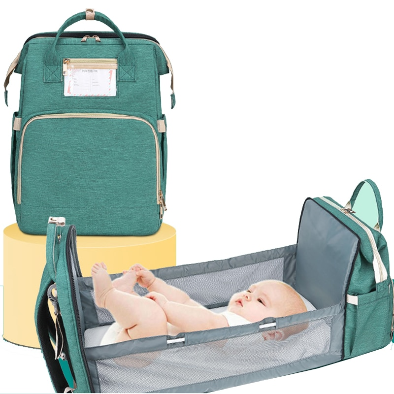 Portable Nappy Bag Outdoor Folding Diaper Backpack Travel Large Mummy Maternity Bags Changing Table Pads For Mom