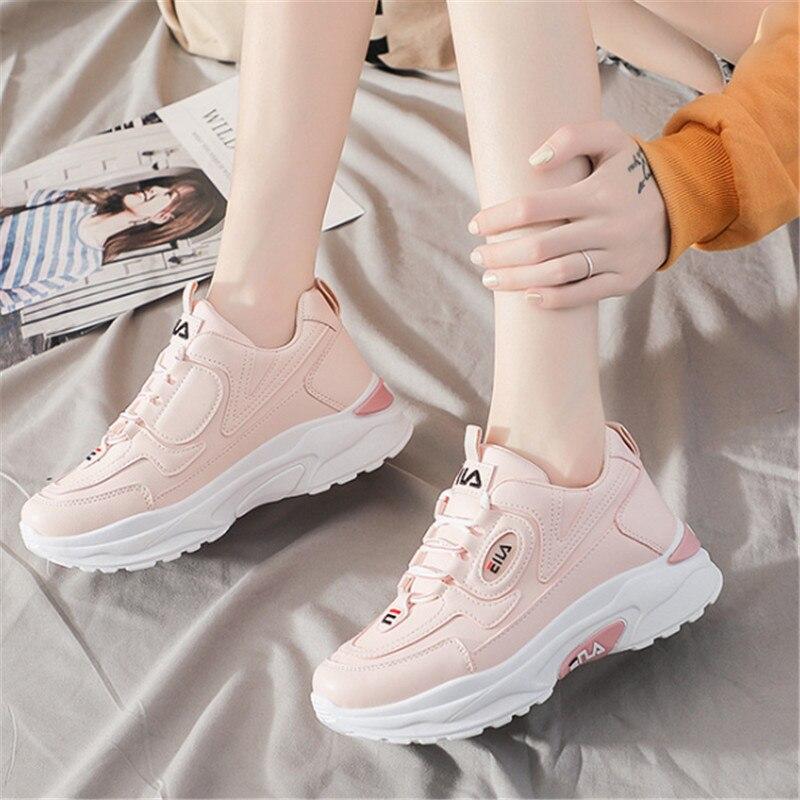 Zapatos deportivos de suela gruesa de cuero para Mujer, Zapatillas de deporte...