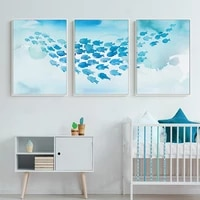 abstract poster cartoon blue fish group canvas painting childlike wall art pictures print room decorative for nursery children