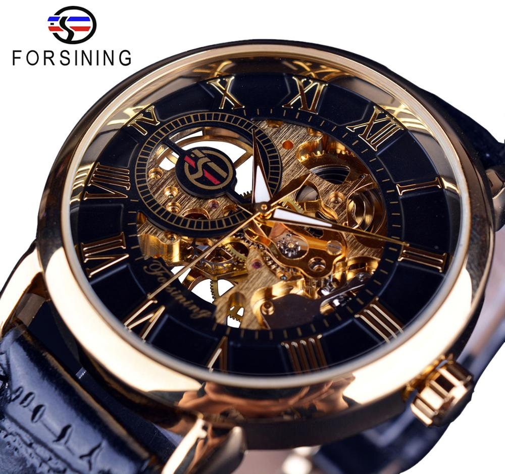 Forsining 3d Logo Design Hollow Engraving Black Gold Case Leather Skeleton Mechanical Watches Men Lu