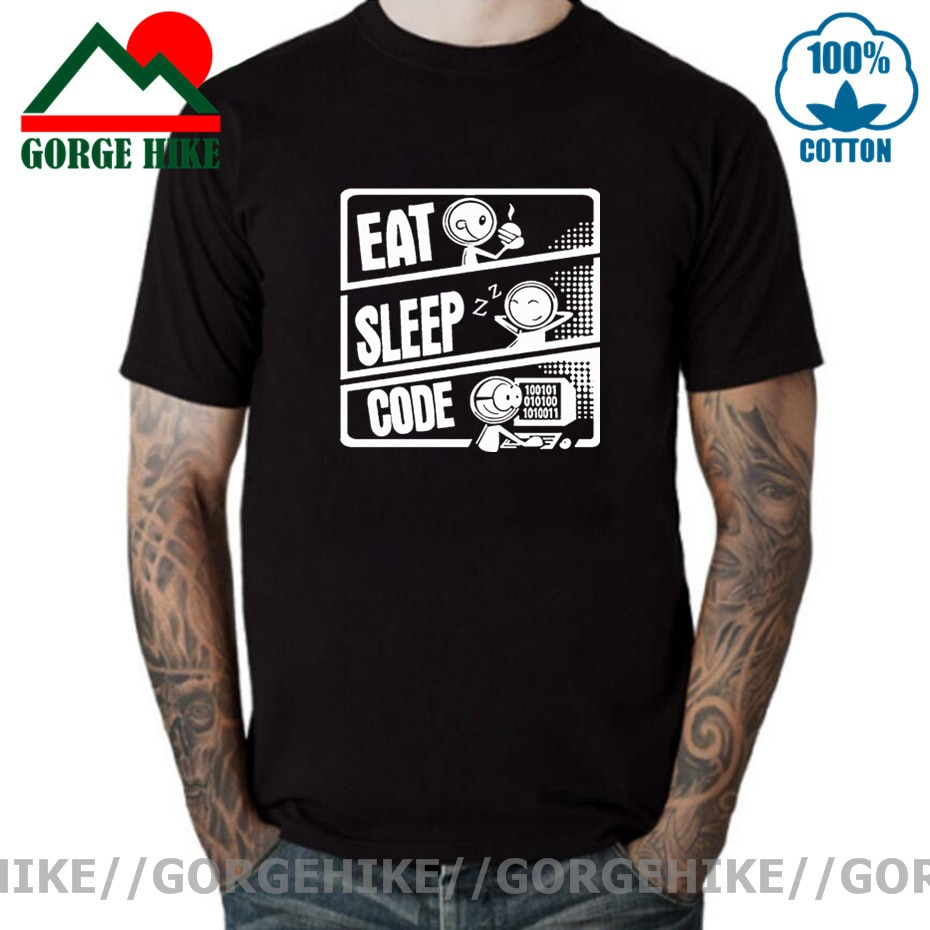 GorgeHike-camisetas con código de sueño para hombre y mujer, camiseta programador Linux,...