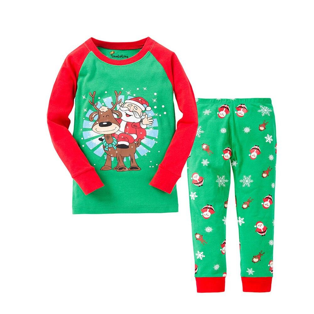 Niños Pijamas de Navidad rojo verde niños Santa Claus Pijamas niños niñas Año Nuevo Pijamas niños Pijamas conjuntos 2 t-8 t