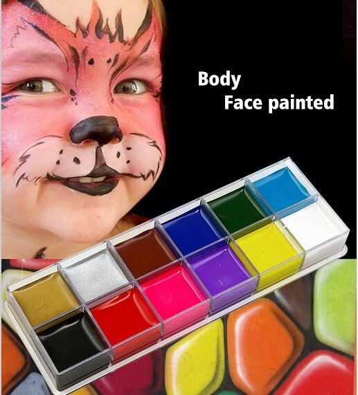 12 цветов Живопись тела игра клоун Хэллоуин Макияж краски для лица и тела лицо окрашенный макияж флэш Татуировка Макияж