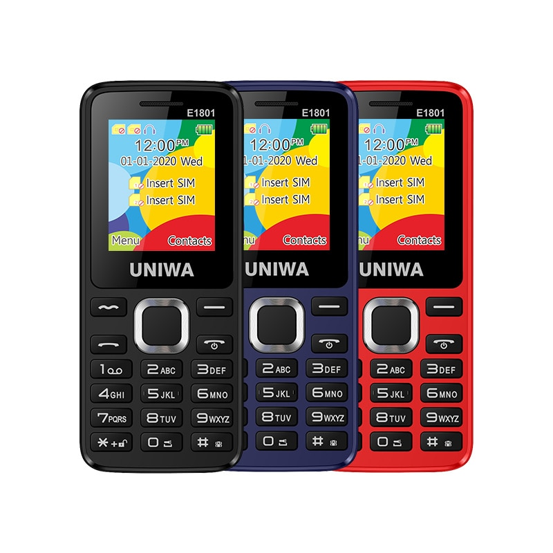 UNIWA E1801 Dual SIM Dual standby 1.77'' 800mAh MP3 MP4 FM Radio with Flashlight Loud Speaker 8 Day Standby Senior Feature Phone