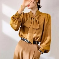golden dog tooth ribbon mulberry women silk blouse high quality long sleeve oversize sexy fashion office casual dress shirts