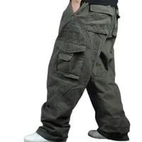 hip hop cargo pants men casual density cotton straight loose baggy streetwear joggers wide leg trousers plus size clothes