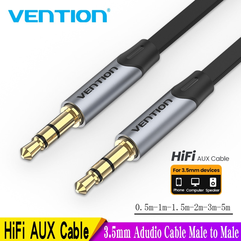 Vention 3.5mm Jack Audio Cable 3.5 Male to Male Cable Audio 90 Degree Right Angle AUX Cable for Car Headphone MP3/4 Aux Cord 5m