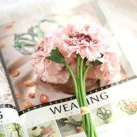 6pcsbunch 28cm carnation silk fake flowers bouquet artificial flowers wedding decoration diy craft home decoration accessories