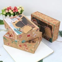 312pc christmas decoration for home cookie box kraft paper candy gift boxes bags food packaging box new year navidad decoracion