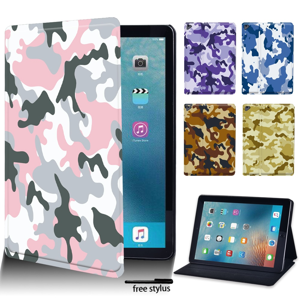 Tablet Case for Apple IPad Air 4 2020 10.9 Inch/Air 1/2 9.7 Inch/ IPad Air 3 10.5 Inch 2019 PU Leather Camouflage Pattern Case